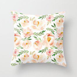 Soft Blush Floral Throw Pillow