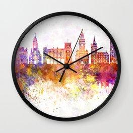 Bielsko-Biala skyline in watercolor background Wall Clock