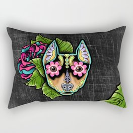 Min Pin Day of the Dead Miniature Doberman Pinscher Sugar Skull Dog Rectangular Pillow