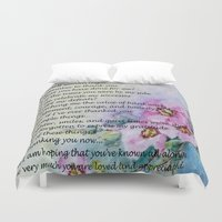 poem Duvet Covers featuring A Mother's Day Poem by Frankie Cat