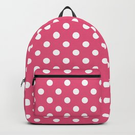 Small Polka Dots - White on Dark Pink Backpack