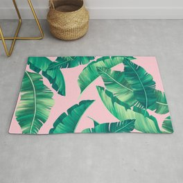 Summer lime leaves pink pattern Rug