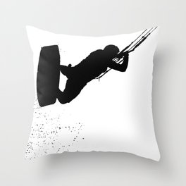 Up Up And Away Kiteboarder Silhouette Throw Pillow