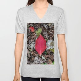Persimmon tree red leaf Unisex V-Neck