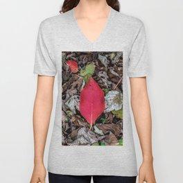 Persimmon tree red leaf Unisex V-Neck