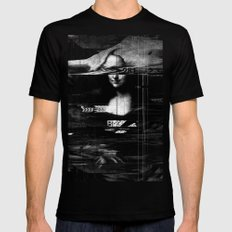 Mona Lisa Glitch SMALL Black Mens Fitted Tee