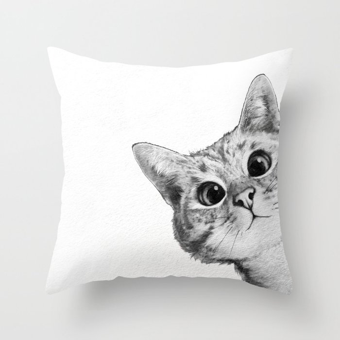 Sneaky Cat Throw Pillow By Lauragraves Society6