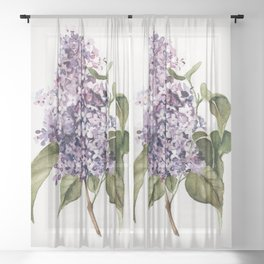 Lilac Branch Sheer Curtain