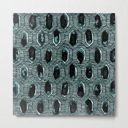 "Watercolour Blackwork: 'Lozenge"" Burnt Turquoise 2 (dark) Metal Print"