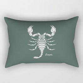 Scorpio White on Dark Green Background Rectangular Pillow