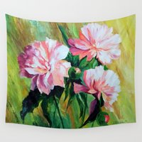 peonies Wall Tapestries featuring Peonies by OLHADARCHUK