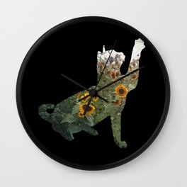 Cat Silhouetted in Sunflowers Wall Clock