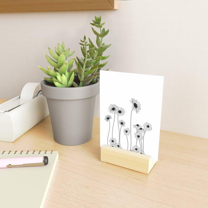 Minimal line drawing of daisy flowers Mini Art Print