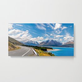 Panoramic view from Mount Cook Highway, a spectacular road trip in New Zealand Metal Print