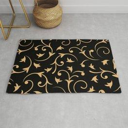 Baroque Design – Gold on Black Rug