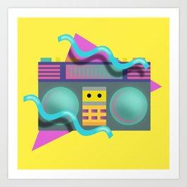 Retro Eighties Boom Box Graphic Art Print