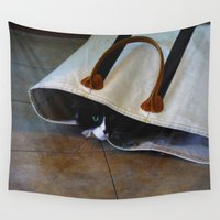tote bag Wall Tapestries featuring Gracie's Got a Brand New Bag! by Bob Benenson Photo Art