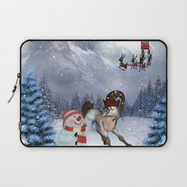 Christmas, funny cartoon horse with snowman Laptop Sleeve