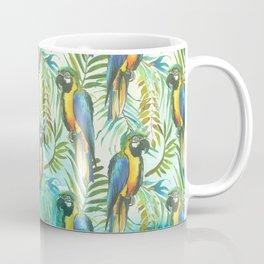 Watercolor blue yellow tropical parrot bird floral Coffee Mug