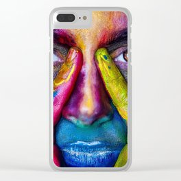 Face in the foreground with many colors Holi Indian festival Clear iPhone Case