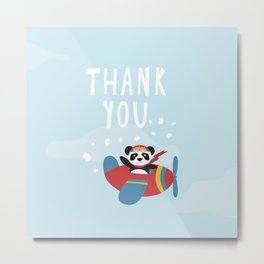 Panda says Thanks! Metal Print