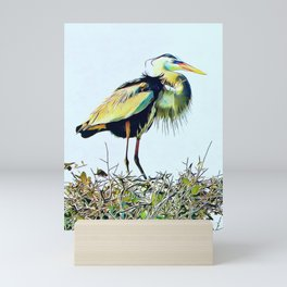 Great Blue Heron Treetop Mini Art Print