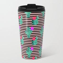 Cactus Stripes Peach Background Travel Mug