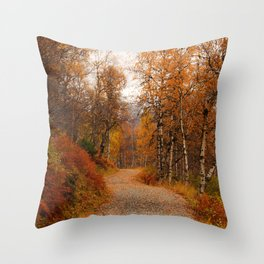 Winding country road in a fall forest Throw Pillow