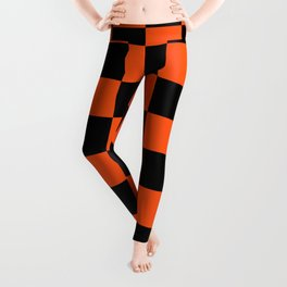 Black and Orange Checkerboard Pattern Leggings