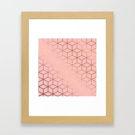 Pink and Gold Geometry 011 Framed Art Print