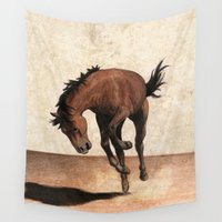 mustang Wall Tapestries featuring Wild horse by Savousepate