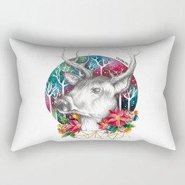 Christmas Reindeer / Deer Painting Drawing Rectangular Pillow