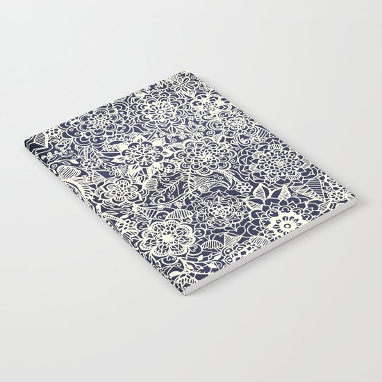 Lace on Nautical Navy Blue Notebook