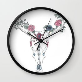 Day Of The Dead Cow Skull (White) Wall Clock