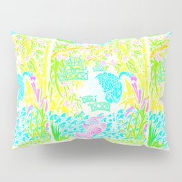 Asian Bamboo Garden in Pink Lemonade Watercolor Pillow Sham