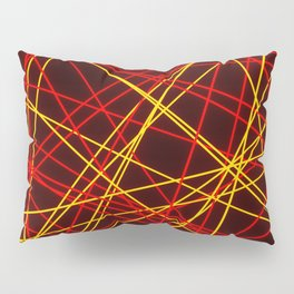 Neon Abstract Line -Red and Yellow, Black- Pillow Sham