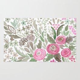 Watercolor .  Pink summer . Rug