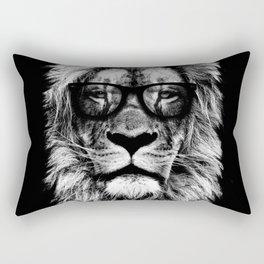 Hipster Lion Black Rectangular Pillow