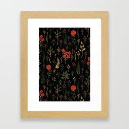 Green, Red-Orange, and Black Floral/Botanical Print Framed Art Print
