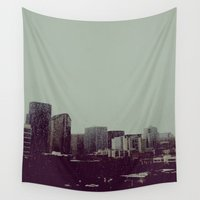 seattle Wall Tapestries featuring Sleepy Seattle by Jane Lacey Smith