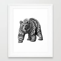 ornate Framed Art Prints featuring Ornate Bear by BIOWORKZ