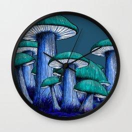 Magically Blue Mushrooms Wall Clock