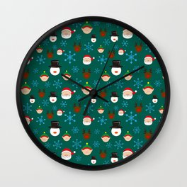 Christmas Four with Snowflakes Wall Clock