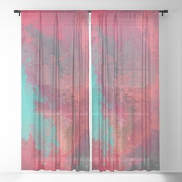 Passionate Firestorm Abstract Painting Sheer Curtain