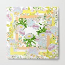Floral Frame Collage Metal Print