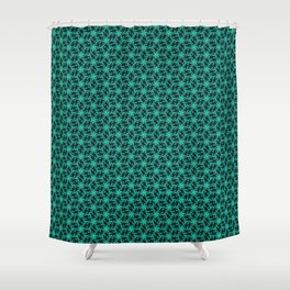 Midnight Ribbons Teal Snowstorm Winter Spirit Night Time Snow Showers Spirit Organic Shower Curtain