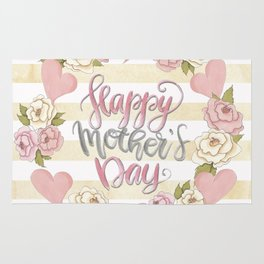 Happy Mothers Day Wreath Rug