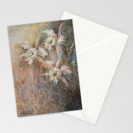 WHITE ORCHID, POINTILLISM, PILAR VAZQUEZ  Stationery Cards