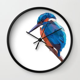 Kingfisher - Low poly digital art Wall Clock