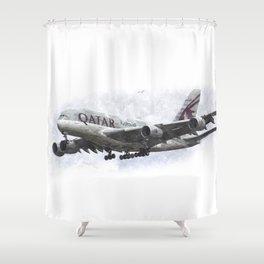 Qatar Airbus A380 Art Shower Curtain